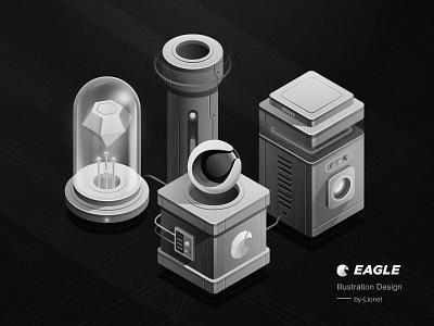 Eagle Illustration Design2 isometric 2.5d design illustration sketch