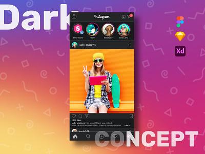 Instagram Dark UI user interface insta redesign version dark feed home instagram ui