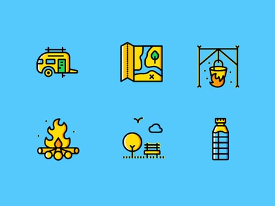 Outdoor Icons (Yellow Style) │Smashicons.com