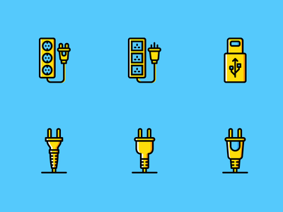 Connectors and Cable Icons (Yellow Style) │Smashicons.com iphone connector cables icon set outline user experience ux user interface ui yellow icon icons