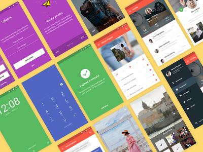 Silicone Material Design Mobile UI Kit │designerbundle.com material mobile design google material design design template mobile design apple design ios ios app design ux user interface ui ui kit design bundle