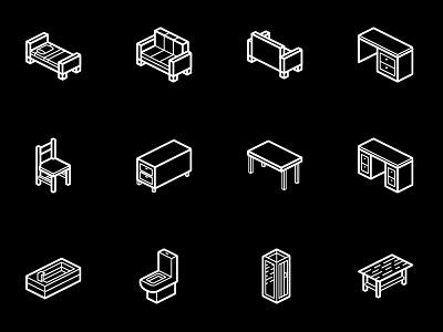 Furniture Isometric Icons │Smashicons.com outline icons icon isometric furniture