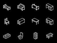 Furniture Isometric Icons │Smashicons.com