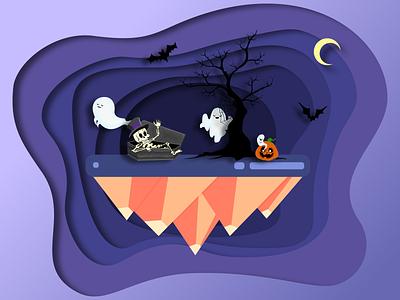 Halloween island tree skeleton pumpkin paper cut island illustration halloween ghost coffin bat