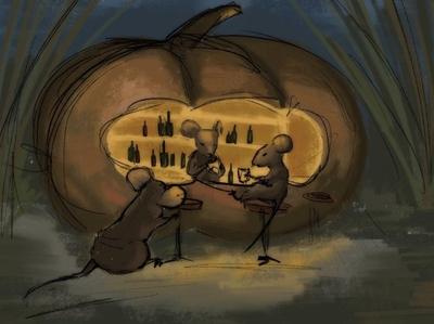Pumpkin night bar mouse pumpkin drawing illustration digitalart digital design
