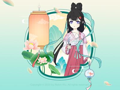 出行记 summer festival summer drawingart princess lotus character design chiese character character drawing