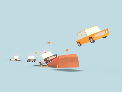 Low Poly Police Chase cartoon game photoshop city lowpoly car chase car blender illustration design isometric axo iso
