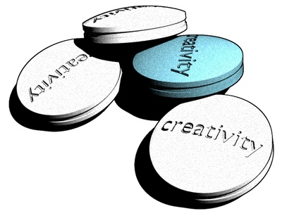Pills creativity pills white blue 3d