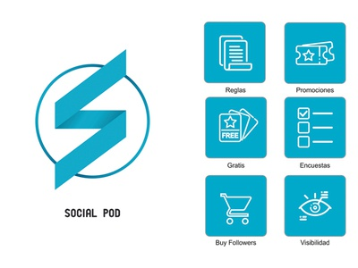 SocialPod Logo and icons icon app mobile design vector logo design branding