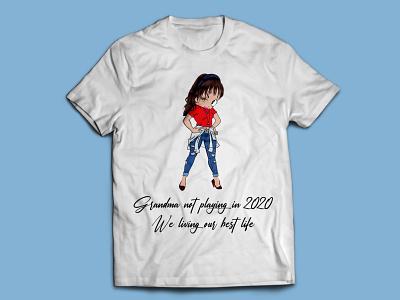 Grandpa Illustration T-shirt girl lady dj indian india t-shirts t-shirt mockup t-shirt design t shirt design t-shirt t shirt art illustration t shirt designer t-shirt illustration t shirt