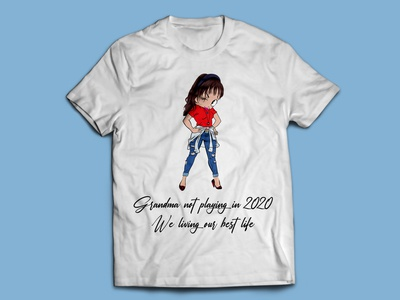 Grandpa Illustration T-shirt girl lady dj indian india t-shirts t-shirt mockup t-shirt design t shirt design t-shirt t shirt art illustration t shirt designer t-shirt illustration t shirt