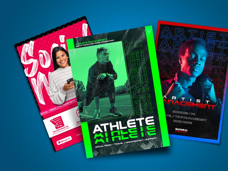 Various Poster Designs social media athlete artist management posters flyers flyer design poster design