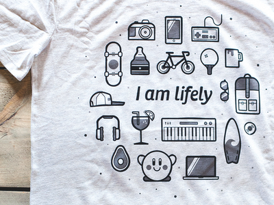 I am Lifely pingpong kirby technology photography skateboard music surf drinks nintendo icons company t-shirt