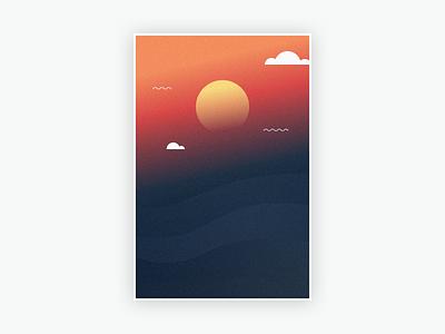 Landscape #1 grain gradients nature clouds sun mountain