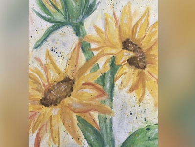 Expressive Watercolour Sunflowers expressive art flowers sunflowers watercolour painting illustration