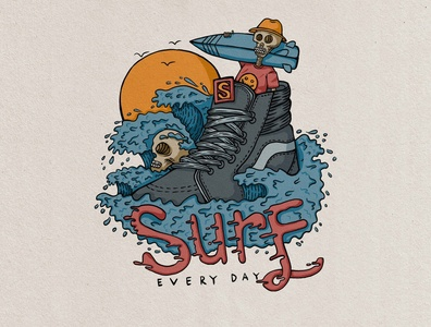 surf X skate badge vintage hand drawn design illustration clothing brand brand clothing retro design retro vintage design vintage logo vintage illustration art illustraion aloha tropical badge logo vintage badge badge vector illustrator graphic design design art