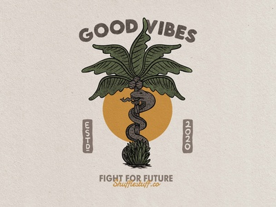 good vibes badge vintage hand drawn design illustration clothes snake clothing label palmtree clothing company clothing design clothing brand clothing branding vintage badge vintage logo vintage design graphic design tropical badge logo badge vector illustrator design art