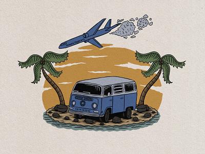 van beach badge vintage hand drawn design illustration hawaii vintage font plane palmtree beach van retro design retro vintage design vintage vintage badge graphic design vector tropical vintage logo badge logo badge illustrator design art