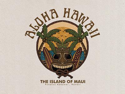 aloha hawaii badge vintage hand drawn design illustration uidesign ui  ux uiux ui vintage badge vintage font vintage hawaiian shirt hawaiian hawaii vintage design graphic design vector badge vintage logo tropical badge logo illustrator design art