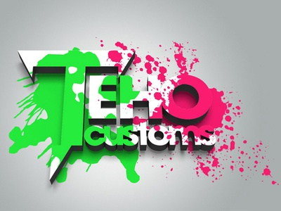 Techo customs 3d art 3d modeling photoshop creative logo branding logo design