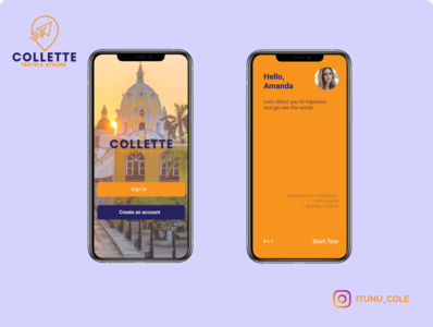 collette travels and tour travel app ux typography ui design