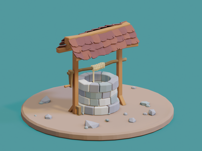 3D WELL well illustration render lowpoly blender 3d