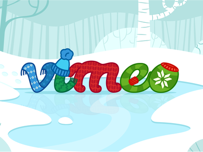 Vimeo Winter Wonderland vimeo winter logo mittens scarf vector snow pond trees