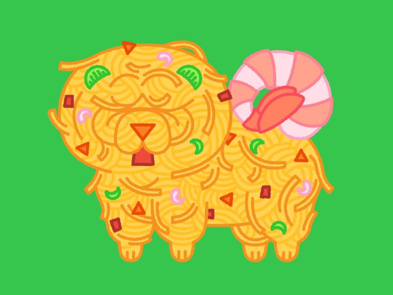 Fig. 3 Chow Chow Mein puppy dog chowmein chowchow chow food illustration