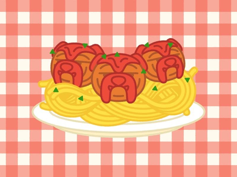 Spaghetti & Meatbulldogs meatballs spaghetti bulldog puppy dog chow food illustration