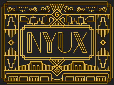 NYUX Art Deco Logo google nyc gatsby art deco type logo