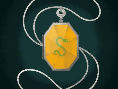 The Locket of Salazar Slytherin - the 3rd Horcrux snake locket slytherin illustration harry potter