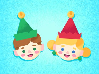 Elves illustration holidays faces stickers christmas elves