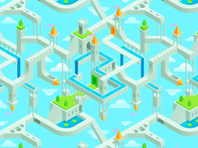 Impossible Kingdom (WIP) repeating pattern wallpaper monument valley escher clouds castles sky