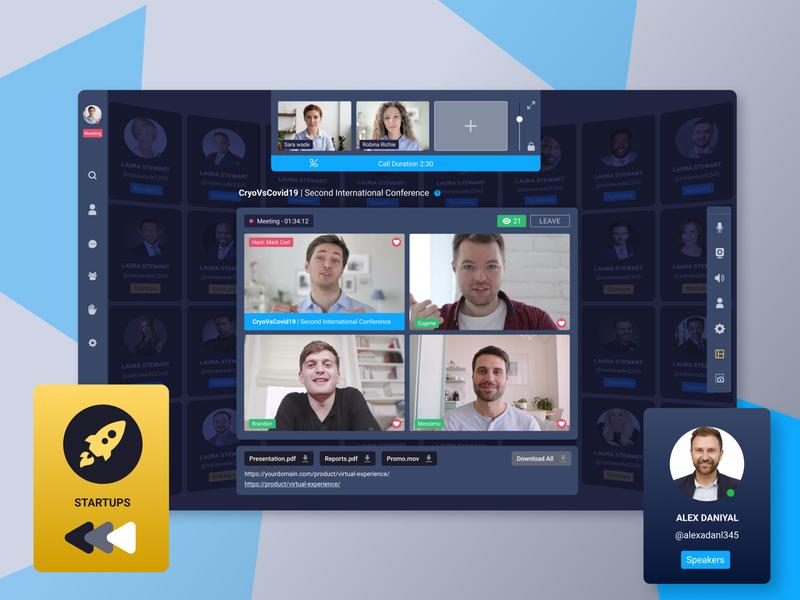 Virtual Event web app webdesign illustraion uidesign calling app zoom virtual event video conferencing