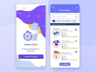 Track Expiry figma design figma app branding uiux ui illustration uidesign consumer consumer goods mobile app mobile design tracking app food app
