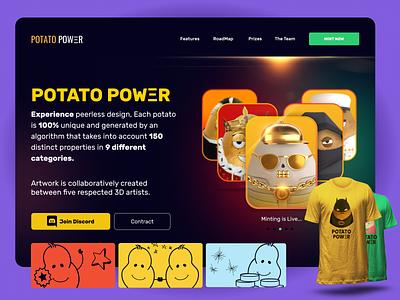 Potato Power NFT landing page illustration uiux webdesign mobile app uidesign graphic design 3d blockchain nft platform common nft rare nft nft collection nft