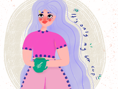 Coffee sarcastic coffee character design characterdesign character woman design procreate art procreate illustration