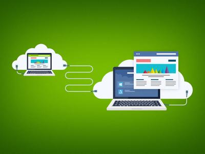Transfer Hosting clouds computer flat website illustration
