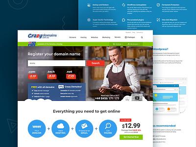 UI/UX Design for new Web Site Domain Registrar CrazyDomains.com web design ux design ui design