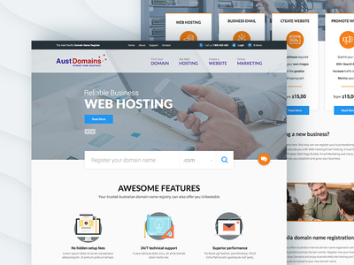 UI/UX Design of website for Domain Registrar AustDomains illustration web design ux design ui design