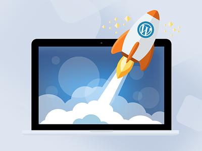 Illustration for WordPress Hosting service illustratuin