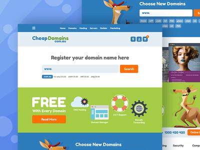 UI/UX Design of website for Cheapdomains.com.au web design ux design ui design