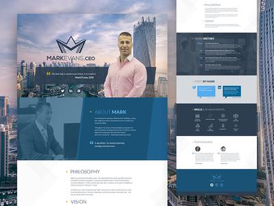 Design for Mark Evans Landing Page web design ux design ui design