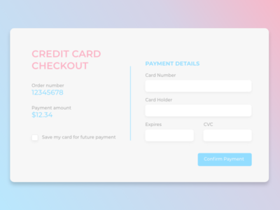 Daily UI 002 - Credit Card Checkout dayliui design ui