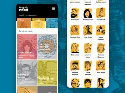 Graphic News comics illustration branding identity design ux ui website web