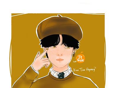 Illustration Kim Taehyung BTS (semi realism) design vector illustration