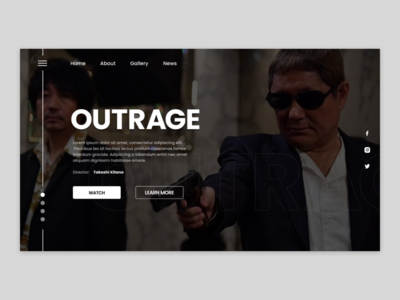 OUTRAGE landing page ux design ui  design creative black and white ui ux web design