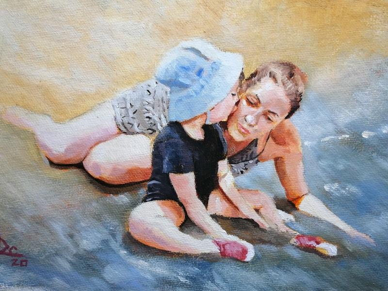The kiss paint art design illustration
