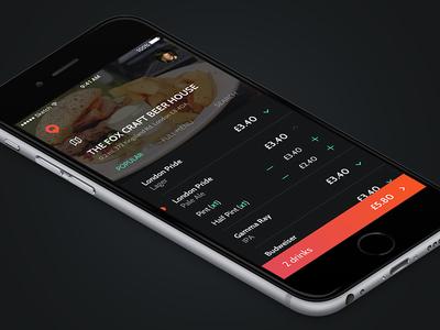 App Design - WIP pub drinks app mobile