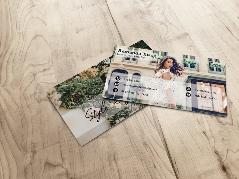 Business Card for International Fashion Vlog proffesional business card illustration design